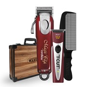 Magic Clip & T-Cut Combo + Speed Comb in Wooden Brief Case -